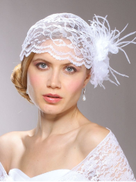 Juliet Bridal Cap with White Lace, Organza Flower & Feather Hair Clip