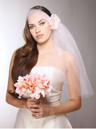 Headband-Style Tulle Bridal Veil with Organza Flower & Crystal