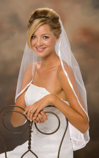 "30"" Long with a 3/8"" Ribbon Edge Veil"