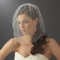 Bird Cage Style Blusher Face Veil with Scattered Swarovski Rhinestones