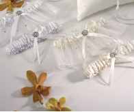 Scattered Pearls and Crystals Two Piece Bridal Garter Set - White or Ivory