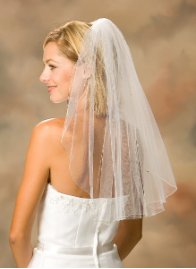 Corded Edge Veil with Rhinestones