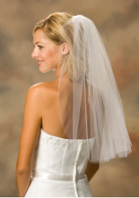 Cut Edge veil, shoulder Length veil