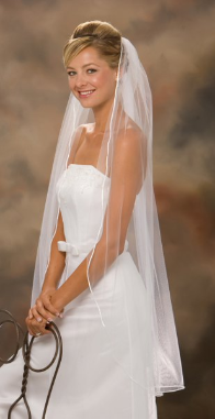 Rattail Edge Veil knee length