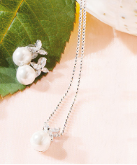 Flower & White Pearl Jewelry
