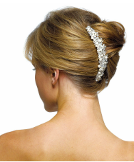 Ivory Pearls & Crystal Flowers Hair Comb NEW