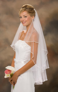 "30""x36"" Long Soutache Edge Veil"