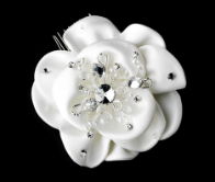 Fabric Flower Bridal Hair Comb with Rhinestone Crystals (white or Ivory)