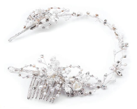 Silver- Clear- Ivory Tiara Vine