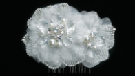 Double Flower White or Ivory Hair Comb