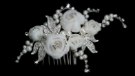 White or Ivory Rose Hair Comb
