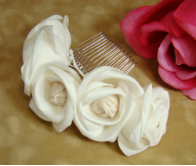 Ivory Roses with Champagne Rum Accent Bridal Comb