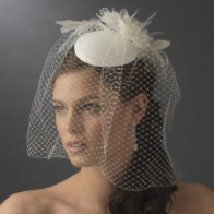 Vintage Bridal Hat with Bird Cage Face Veil