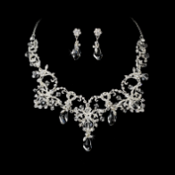 Couture Silver Clear Crystal Bridal Necklace & Earring Set