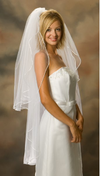 Knee Length Standard Rattail Edge Bridal Veil