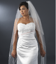 "30"" x 120"" long Bridal Veil with Beaded Embroidery"