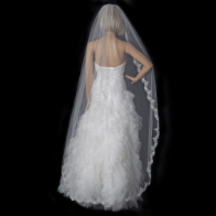 Mantilla Lace Wedding Veil Ivory/Silver - One Layer