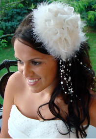 """Sex in the City Style Bridal"" Feather Hat HP 7798"