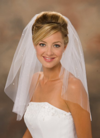 "20"" Long Cut Edge Bridal Veil with Pearls"
