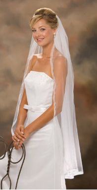 Sheer Edge Ribbon, Knee Length veil