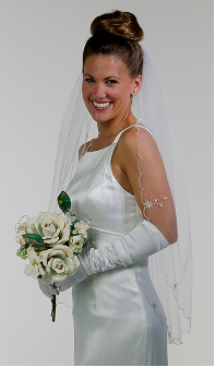 Veil with floral bugle bead appliques
