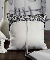 Love Bird Damask in Classic Black and White Wedding Ring Pillow