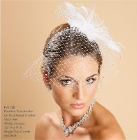 Feather Fasciniator with visor veil