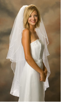 Knee length Soutache Edge Bridal Veil w/ Pearls