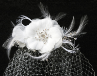 Feathers, Flower and Rhinestone Cage Veil