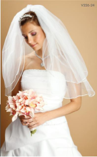 Rounded Satin Corded Edge veil- 2  Layers
