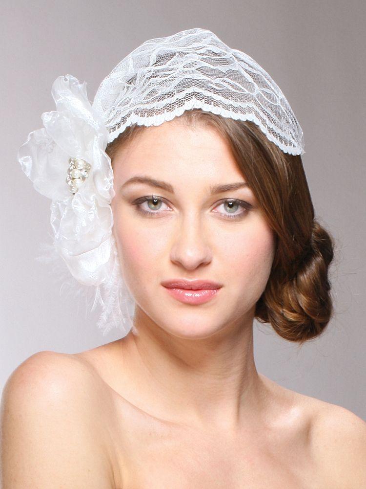 Juliet Bridal Cap With Dark Ivory Lace Organza Flower