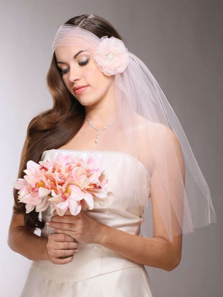 Headband Style Tulle Bridal Veil With Organza Flower Amp Crystal