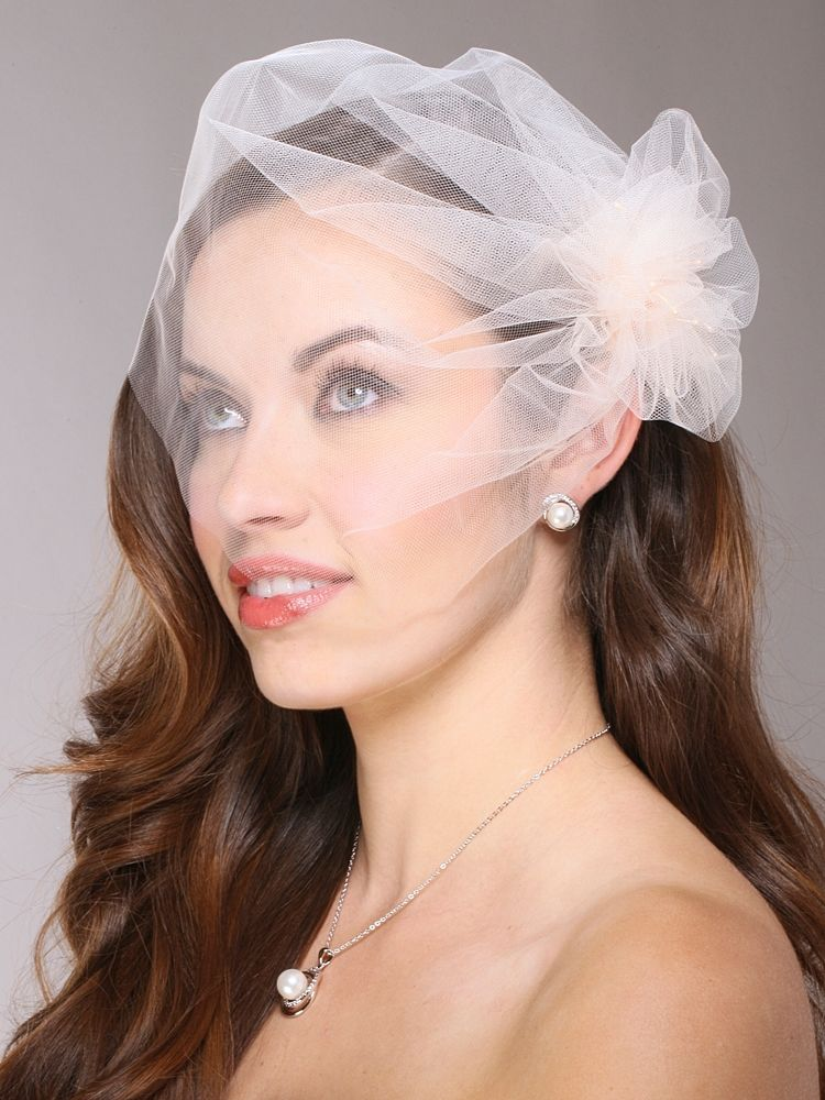 Tulle Birdcage Veil Bridal Cap With Side Pouf Amp Stamen Accents