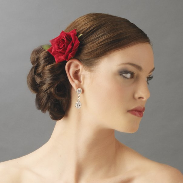 Velvet Red Rose Hair Clip For Bridal Wedding Day