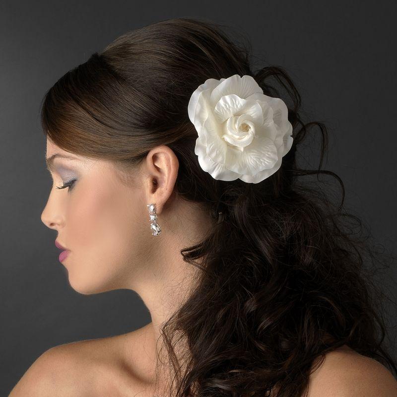 Ivory Flower Hair Clip Wedding: Elegant Bridal Flower Hair Clip In Ivory Or White