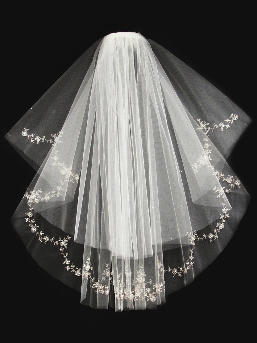 Circle Cut Raw Edge With Silver Embroidered Tulle